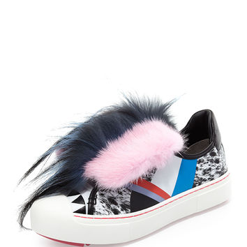 Mink-Fur Leather Monster Sneaker, Black/Multi