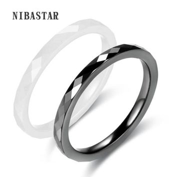 Fashion Light Black White Simple Cut Ceramic Ring For Woman High Quality Jewelry Without Scratches Womn Wedding Jewelry Ring