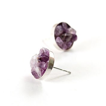 Sterling silver jewelry amethyst stud earrings