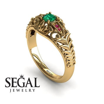 Unique Engagement Ring 14K Yellow Gold Vintage Victorian Ring Edwardian Ring Filigree Ring Green Emerald With Ruby - Cadence