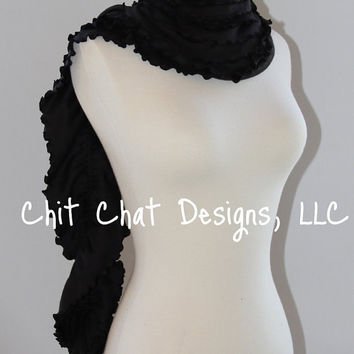 Black Double Ruffle Scarf by chitchatdesignsllc