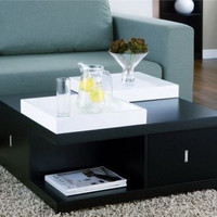 Black Coffee Table With Serving Trays Living Room Furniture Wood Cocktail Tables