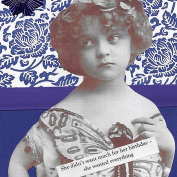 Adorable Purple Birthday Card for the One Who Wants Everything - Victorian Edwardian Style Child- You Can't Always Get What You Want
