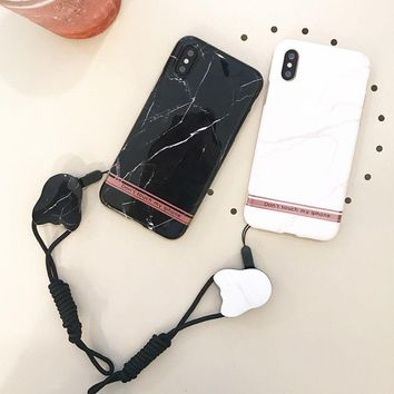 Creative Lanyard Marble Stone Phone Case For iPhone X 8 6s 6 7 Plus Gel Covers