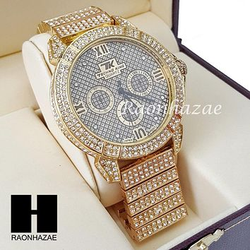 Men's Hip Hop Iced Out 14K Gold PT Bling Lab Diamond Techno King Rapper Watch L7