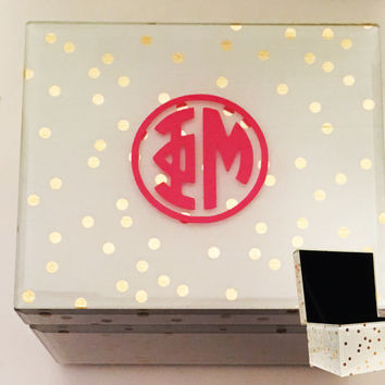Jewelry Box - Sorority Monogram Style Custom Large Rectangular Glass White with Gold Polka Dot Jewelry Box with Velvet Interior Phi Mu
