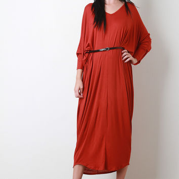 V-Neck Dolman Sleeve Maxi Dress