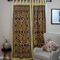 Sunflower Tab Top Cotton Curtain Drape Door Panel Window-Lemon Yellow