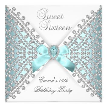 Sweet 16 Sixteen Teal Blue Silver White Diamond 5.25x5.25 Square Paper Invitation Card
