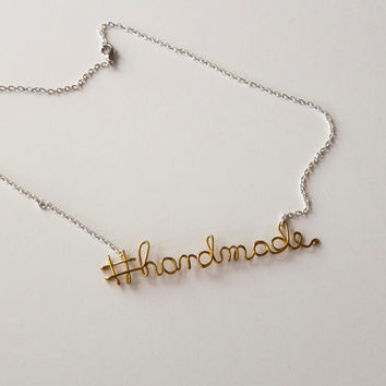 Hashtag necklace with custom word, chocker with personalized hashtag, handmade, customized necklace
