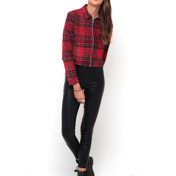 Motel Agatha Collared Jacket in Tartan Red