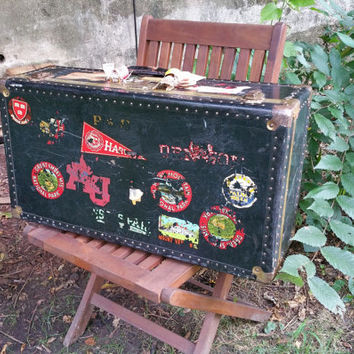 Vintage Black Suitcase Trunk with Travel Decals