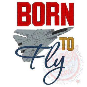 BORN TO Fly Custom embroidered tee-shirt or one piece w/snaps, boys, girls military