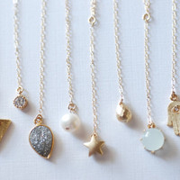 Delicate Y Necklace / Minimal Dainty Drop Pendant Necklace / 14K Gold Filled Chain, Choose your Pendant