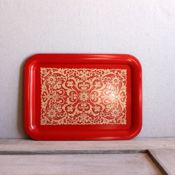 vintage metal tray // tv tray mid century // red with lace print litho