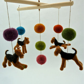Baby Mobile, Felted Airedales, Bright Color Accents, Custom Dog Breeds, Terriers, 4 Figures