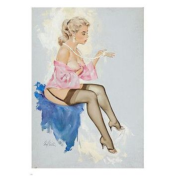 hot pin-up girl with NECKLACE poster 24X36 sparkling dreamy FLIMSY NEGLIGEE