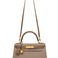 Hermès 28cm Etoupe and Gris Asphalt Epsom Leather Special Order Horseshoe Sellier Kelly | Moda Operandi