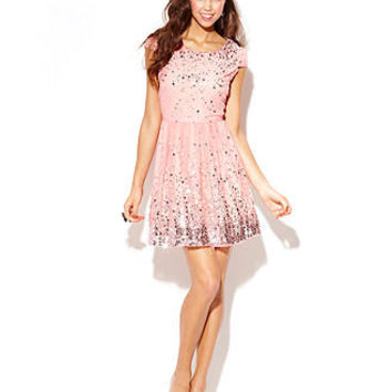 As U Wish Juniors Dress, Cap Sleeve Sequin A-Line - Juniors Prom Dresses - Macy's