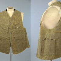 Vintage Filson Original Oil Cloth Hunting Fishing Vest Half Moon Workwear Vest