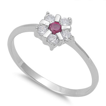925 Sterling Silver CZ Star Flower Simulated Ruby Ring 7MM