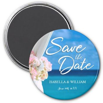 Elegant Ocean Beach Summer Save the Date Magnet