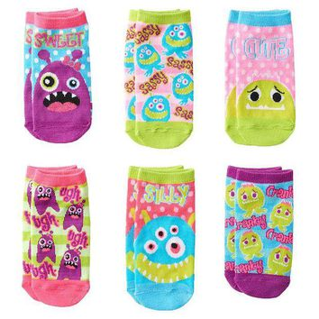 LMFPL3 Pink Cookie 6-pk.  Sweet  Monster Polka Dot No-Show Socks - Girls Size