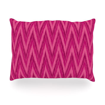 "Amanda Lane ""Berry Pink Chevron"" Magenta Purple Oblong Pillow"