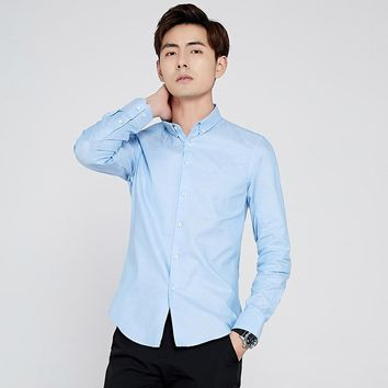Long Sleeve Shirt Men New Fashion 100%Cotton Designer Solid Shirt Non Iron Slim Fit Business Shirts Formal