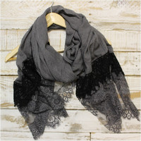 Lace Scarf, Scarves, long, Charcoal grey/black | SC3