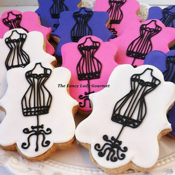 Vintage dress form cookies 1 dozen