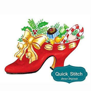 Quick Stitch Country Christmas High Heel Shoe with Goodies Counted Cross Stitch Pattern