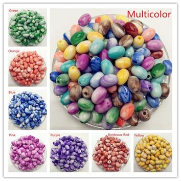 New DIY  8mm10mm elliptical double colored glass bead spacer pattern Jewelry Making