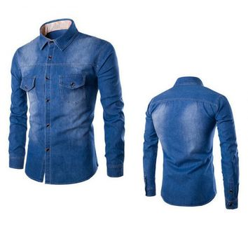 Dark Blue Pocket Button Downs Denim Jeans Men's Long Sleeve Polo Shirts