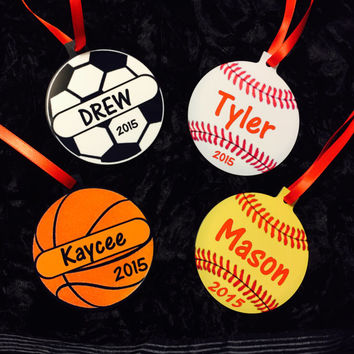 Personalized Sport Christmas Ornament (Soccer, Baseball, Basketball, Softball)