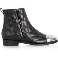 Balmain - Quilted leather ankle boots