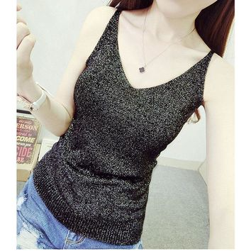 Sexy Knitted Tank Tops Women Gold Thread strapless short Sequined V Neck Tank Blusa Solid Silver Camis Beige Fitness Sweater