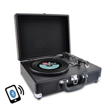 Bluetooth Classic Vinyl Record Player Turntable with Vinyl to MP3 Recording, Aux Input, RCA Output, Built-in Rechargeable Battery & Speakers