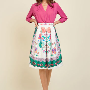 Flair for the Aesthetic Midi Skirt | Mod Retro Vintage Skirts | ModCloth.com