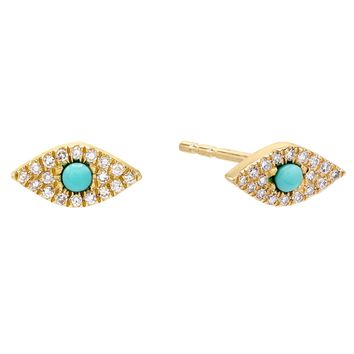 Diamond Turquoise Evil Eye Stud Earring 14K