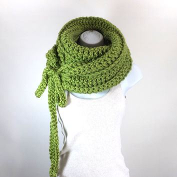 Chunky Scarf with Ties /LEMONGRASS/, Womans Chunky Scarf, Woolen Scarf, Cowl, Neck Warmer, Gift Idea