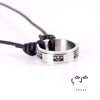 VujuWear Stainless Steel Claddagh Cross Ring Pendant Men's Leather Necklace