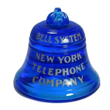 Vintage NY Telephone Paperweight Glass