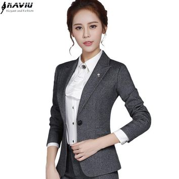 2016 Fashion autumn female blazer outerwear slim fromal plus size black gray OL long-sleeve jacket office ladies work wear