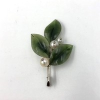 Vintage European 14K White Gold Jade Pearl pin Brooch 4x signed
