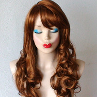 HOLIDAY SALE // Dark Honey Blonde wig. Glamorous golden light browm color hair. Long curly hair with side bangs wig. Lolita wig