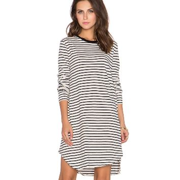 Stripe Long Sleeve Asymmetrical Dress