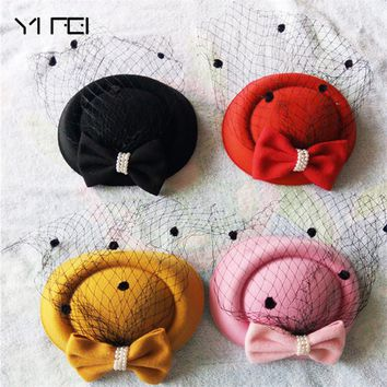 Winter Embroidered Veil cotton Felt Pillbox Hats for Formal Cocktail Party Wedding Hats Dress Fedoras Fascinator Hats for Women
