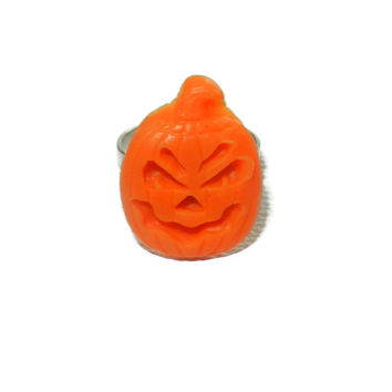 Orange Pumpkin Ring, Halloween Ring, Adjustable Pumpkin Ring