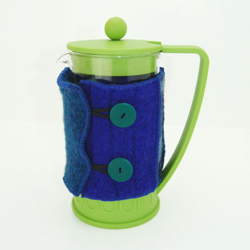 Bodum Cover in Upcycled Wool - French Press Coffee Cozy - Blue Cobalt